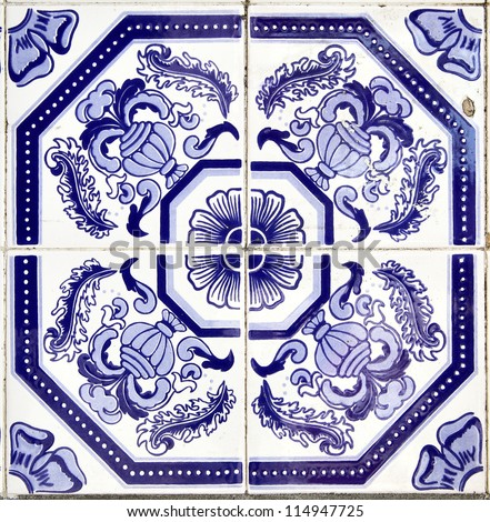 Azulejos - Portugal tiles close-up - stock photo