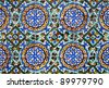 Azulejos tiling detail - islamic art of Seville, Andalusia, Spain - stock photo