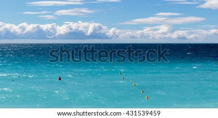AZUR II - view over the 'Baie des Anges' in Nice on the French Riviera. - stock photo