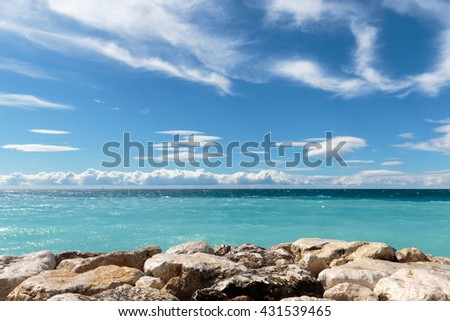 AZUR IV - view over the 'Baie des Anges' in Nice on the French Riviera. - stock photo