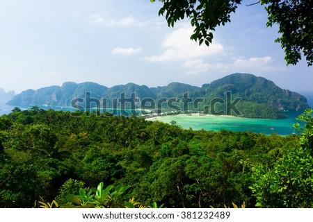 Azure Bay Vacation Wallpaper  - stock photo