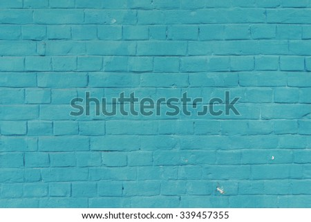 Azure blue painted brick wall texture background.  - stock photo