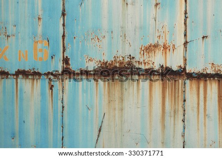 Azure blue painted metal rusty surface background