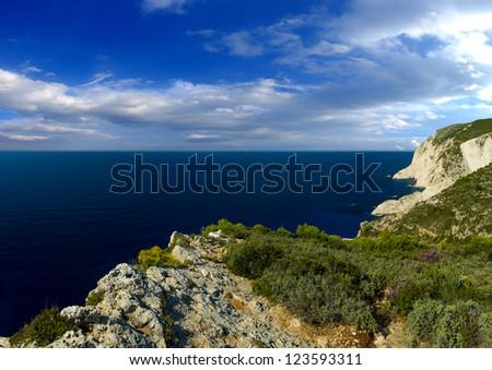 Azure coast of Greece, Zakynthos Island - stock photo