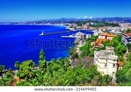 azure coast of Nice, french riviera - stock photo