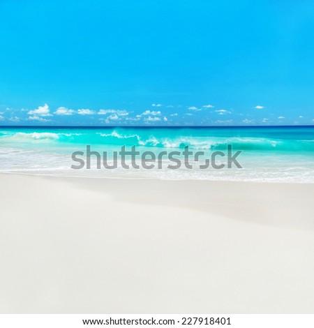 Azure ocean beach, Anse Georgette, island Praslin, Seychelles - vacation background - stock photo