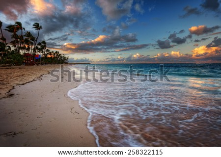 Azure ocean water by a sandy beach with palm trees - stock photo