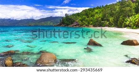 azure paradise of Seishelles islands - stock photo