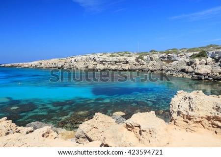 Azure sea landscape at Cape Greco in Cyprus. - stock photo