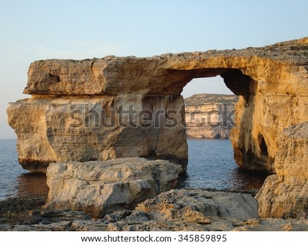 Azure Window, a limestone natural arch near Dwejra, Gozo, Malta, Europe - stock photo