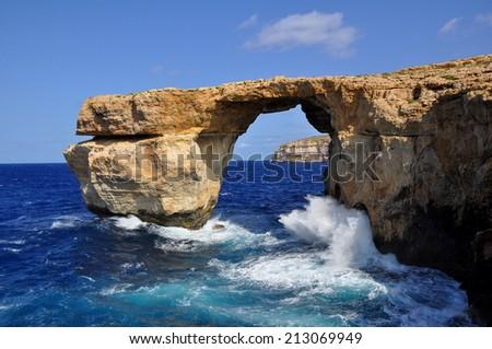Azure Window by rough sea at the Island of Gozo (Malta) - stock photo