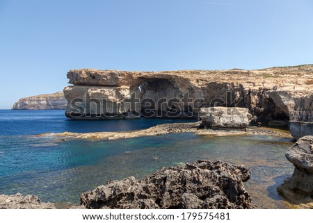 Azure Window, famous stone arch of Gozo island in the sun in summer, gladiator movie, Malta