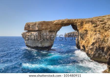 Azure Window, famous stone arch on Gozo island, Malta. - stock photo