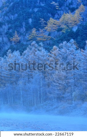 Azusa River and the hoarfrost that fog rises(HDR) - stock photo