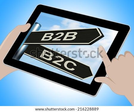 B2B B2C Tablet Meaning Business Partnership And Relationship With Consumers - stock photo
