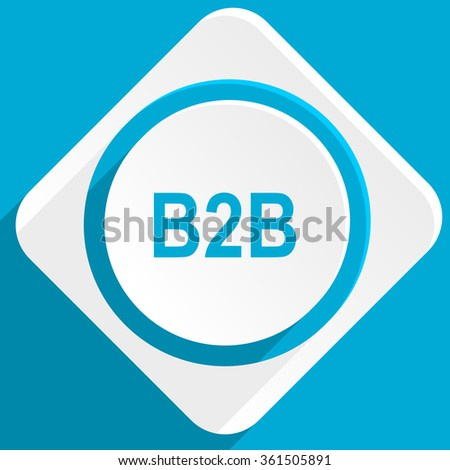 b2b blue flat design modern icon for web and mobile app - stock photo