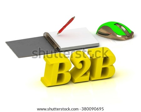 B2B bright color yellow volume letter and textbooks and computer mouse on white background - stock photo