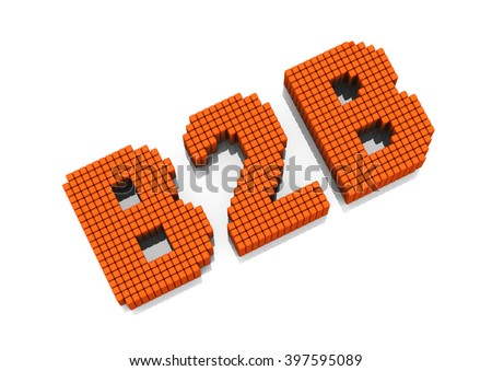 B2B business abbreviation with pixel effect on white background - stock photo