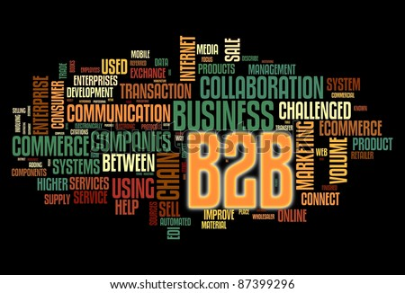 B2B - business to business concept in word tag cloud isolated on black - stock photo