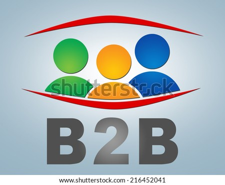 B2B - Business to Business illustration concept on grey background with group of people icons - stock photo