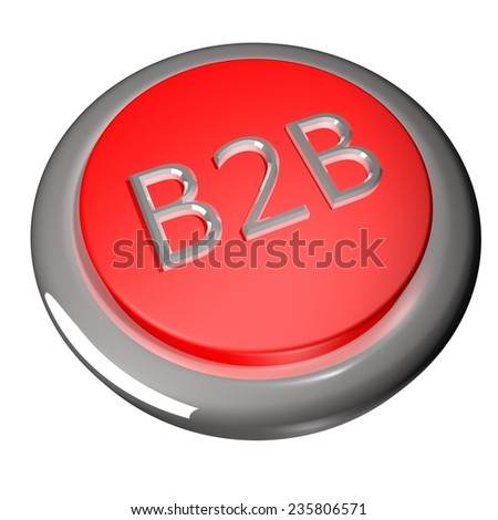 B2B button, isolated over white, 3d render - stock photo