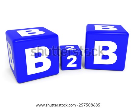 B2B cubes on white background. 3D illustration. - stock photo