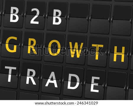 B2B growth trade words on airport board background - stock photo