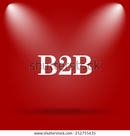 B2B icon. Flat icon on red background.  - stock photo