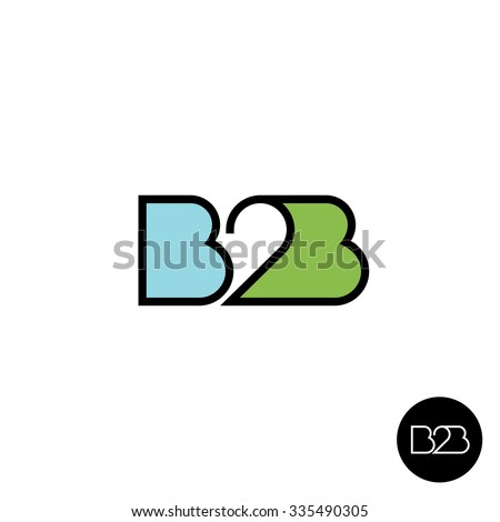 B2B letters logo. Linear style. - stock photo