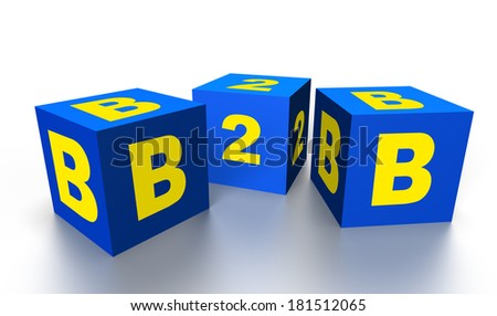 b2b on three 3D cubes isolated on white - stock photo