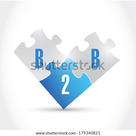 b2b puzzle pieces illustration design over a white background