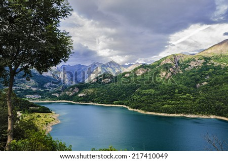 B�ºbal Reservoir, also called Swamp Bubal is a reservoir located in the Spanish Pyrenees Valle de Tena (Huesca). - stock photo