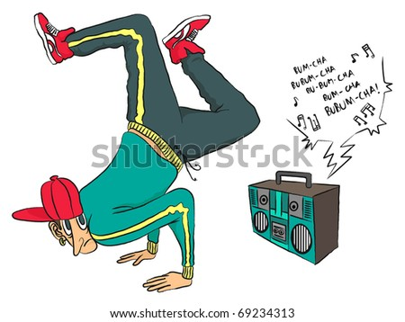 B-Boy break-dancing to the rhythm of his portable stereo - stock photo