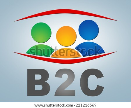 B2C - Business to Customer illustration concept on grey background with group of people icons - stock photo