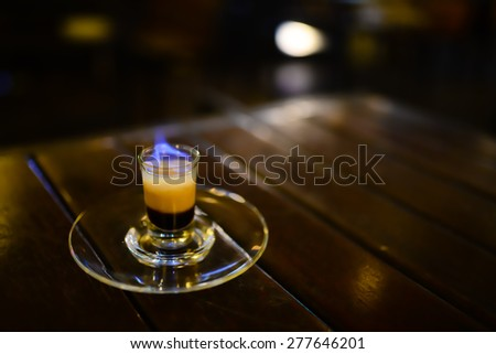B-52 cocktail with fire - stock photo
