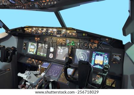 B737 Flight simulator - stock photo