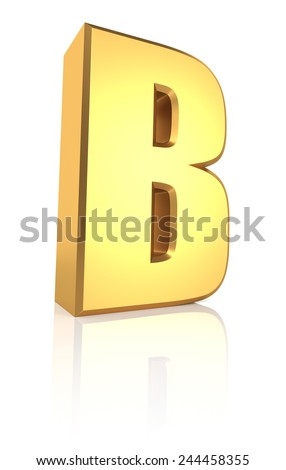 B letter. Gold metal letter on reflective floor. White background. 3d render - stock photo