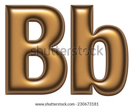 B letter of golden alphabet - stock photo