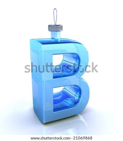 B letter on white background like Christmas toy - stock photo