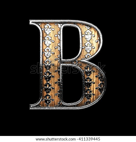 b silver letter. 3D illustration