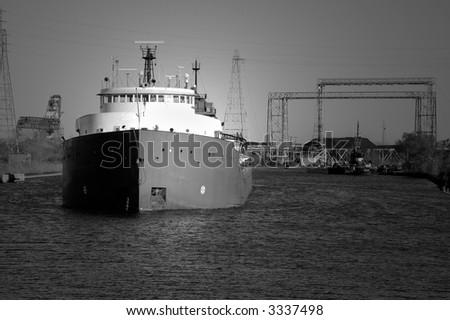 B&W Coal Ship - stock photo