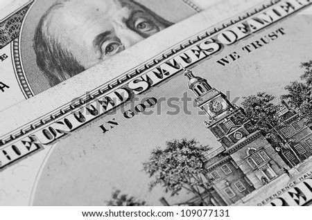 b&w dollar banknotes - stock photo