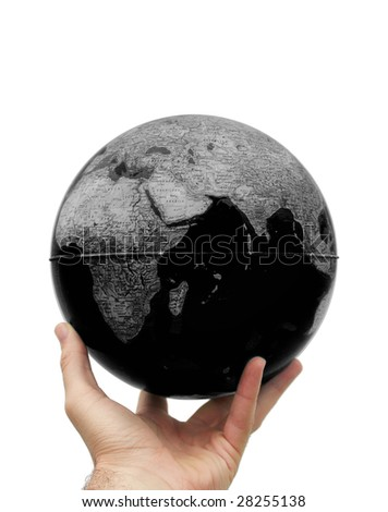 B&W earth holding in hand isolated on white. Pollution concept.