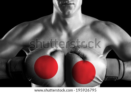 B&W fighter with Japan color gloves - stock photo