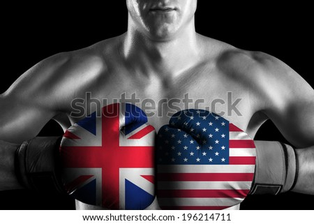 B&W fighter with UK and USA color gloves - stock photo