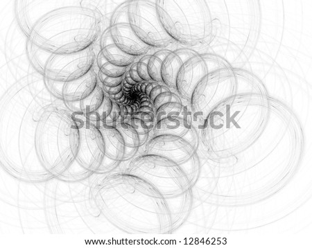 B&W Implosion  Fractal - Graphite Style - stock photo