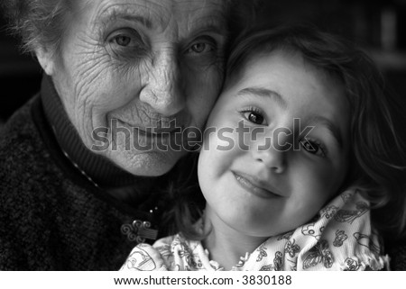 B/W of Girl with Great-Grandmother