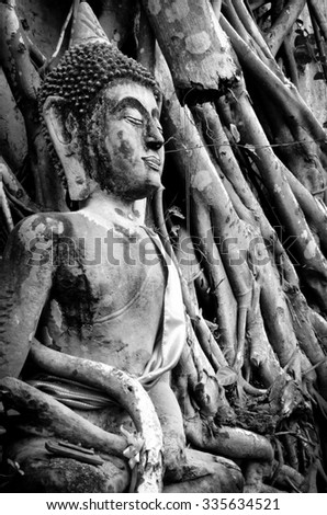 B&W photo of Buddha statue under the tree roots in Thailand - stock photo