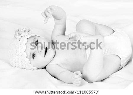 B&W Portrait of a beautiful little girl - stock photo