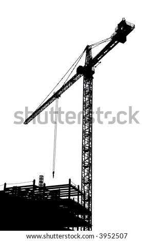 B&W silhouette of a construction crane and steel frame work of a building. - stock photo